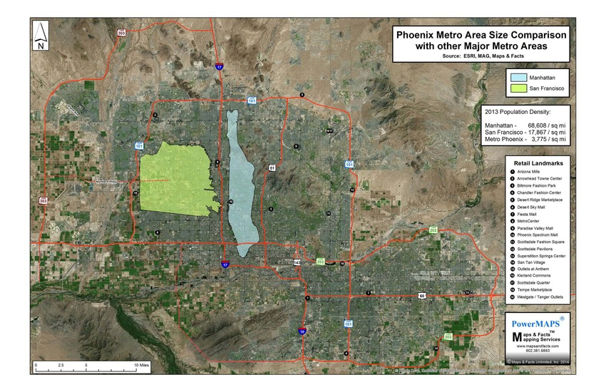 NY_Phx_Metro Area Size Comparison Map